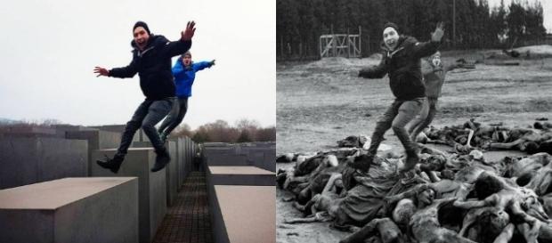 Turistas posan en monumento al holocausto