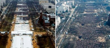 Essa são as fotos polêmicas que mostram mais pessoas na posse de Obama (à direita) do que na de Trump