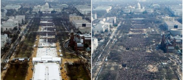 Fotos comparando posses de Trump e Obama.