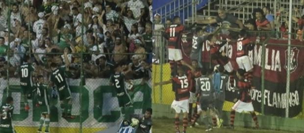 Jogadores das duas equipes correm até seus torcedores para comemorar classificação