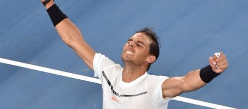 La rage de Rafael Nadal à l'issue de sa victoire sur Gaël Monfils à l'Open d'Australie, le 23 janvier 2017 à Melbourne (AFP/PAUL CROCK )