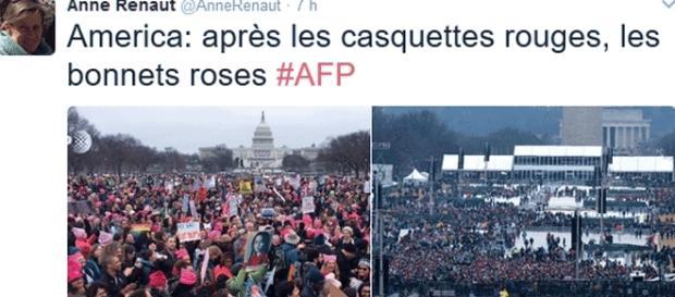 Anne Renaut, du bureau de l'AFP à Washington a comparé l'assistance relativement clairsemée venue écouter Trump et celle de la Marche des femmes