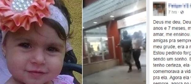 Sofia foi atingida por bala perdida enquanto brincava no Habib's.