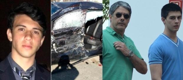Giuliano à esquerda, o carro acidentado e à direita Bonner e Vinícius saindo do hospital após visitar o jovem.