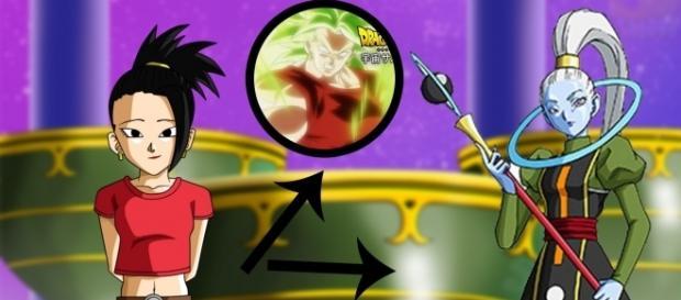imagen referencial de la nueva saiyajin, junto a Vados