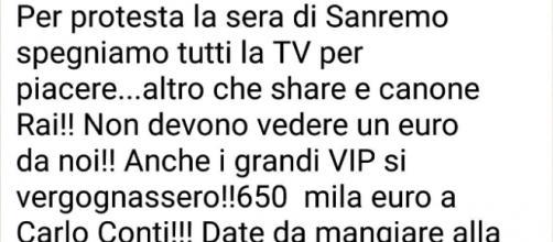 La protesta social contro Sanremo