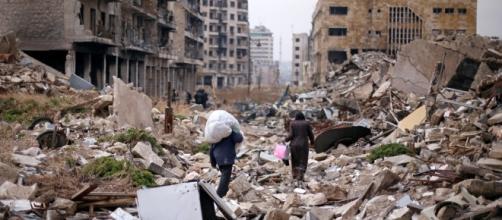 Una immagine simbolo della distruzione di una guerra tragica