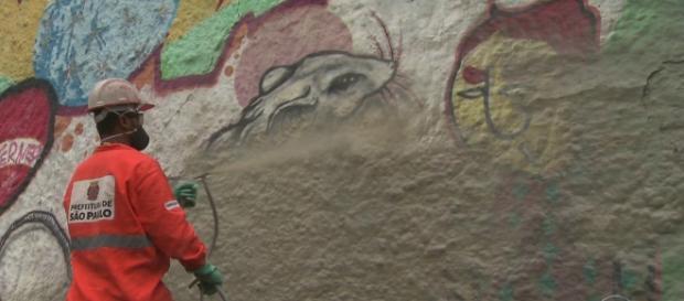 Funcionário da Prefeitura cobre grafites com tinta cinza em São Paulo (fonte: Globo.com)