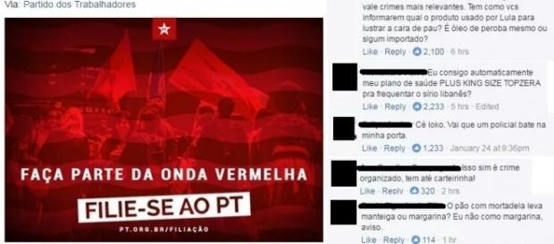 Postagem feita por Rui Falcão no Facebook
