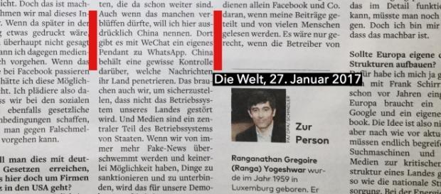 Ranga Yogeshwar lobt tatsächlich die chinesische Zensur. (Fotoverantw./URG Suisse: Blasting.News)