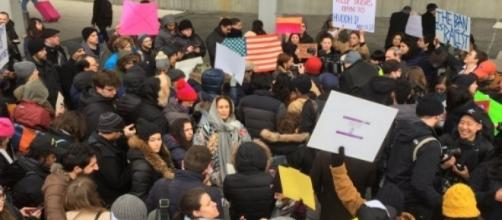 Donald Trump protest in JFK, via Twitter