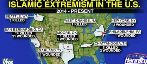 Extremist attacks in USA. Photo from Blasting news support.