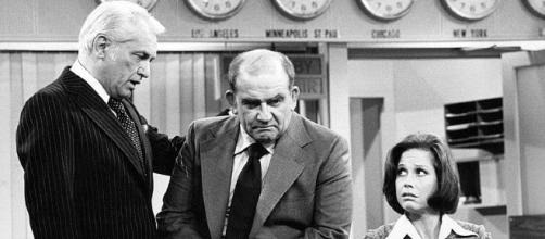 Ted Knighr, Ed Asner and Mary Tyler Moore (CBS Public Domain)
