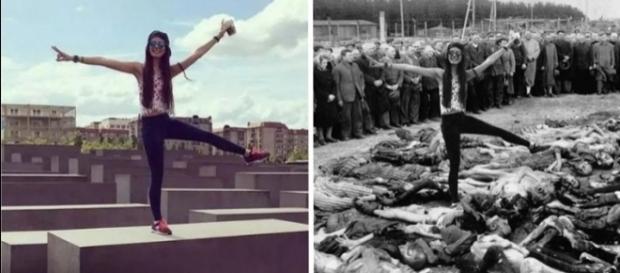 Como forma de protesto, o artista criou montagens das fotos reais dos turistas em imagens reais do holocausto