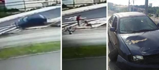 Homem chuta cabeça de mulher caída no chão