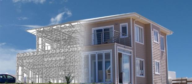 Modelo de casa construída no sistema Steel Frame
