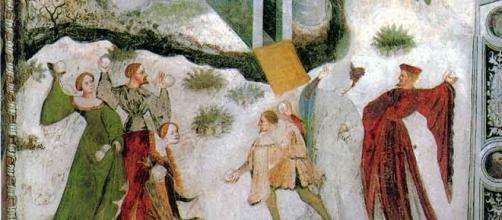 """Un particolare dall'affresco """"Gennaio"""", dal Ciclo dei Mesi (Trento, Castello del Buonconsiglio)."""