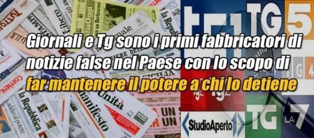 Il fotomontaggio del post di Grillo contro i Media in cui appare il logo del Tg La7 di Mentana