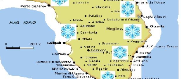 Si prevede neve su varie zone del Salento.