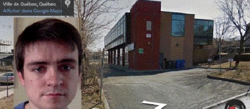 La Grande Mosquée de Québec, et en insert, une photo d'Alexandre Bissonnette issue de sa page Facebook