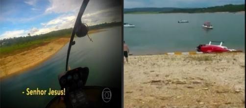 Passageiro grava momento de queda de helicoptero (foto: reprodução TV Globo)