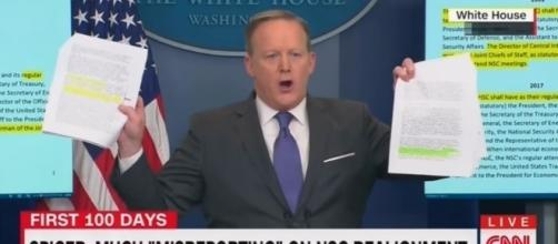 Sean Spicer during press conference, via YouTube