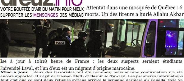 Si les nationalistes québécois déplorent l'attentat de la mosquée de Québec, des sites français l'attribuent déjà à des djihadistes musulmans