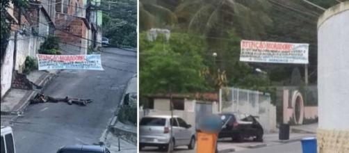Na imagens as fotos das faixas colocadas pelos criminosos explicando quais seriam as 'leis' adotadas na região.