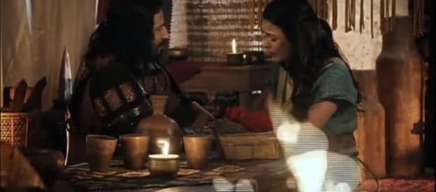 Boã e Sama em 'A Terra Prometida' (Divulgação/Record)