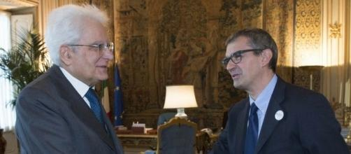 A sinistra, il presidente della Repubblica, Sergio Mattarella