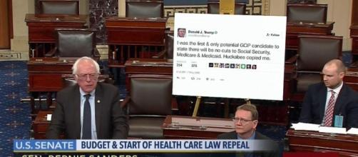 Bernie Sanders Brings Trump Tweet on Senate Floor - nymag.com