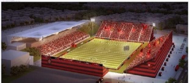 Projeto da arquibancada do Estádio Luso-Brasileiro, onde o Flamengo mandará seus jogos (Foto: Divulgação/Flamengo)