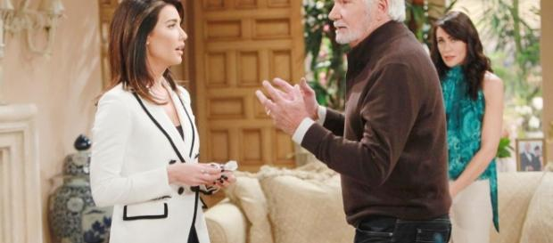 Eric, Quinn and Wyatt try to sway Steffy in their direction, via soap.sheknows.com