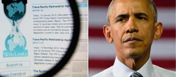 O portal da WikiLeaks e Obama, lado a lado.