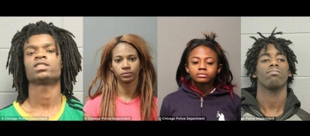 Die vier Täter. Offizielle Polizeifotos.
