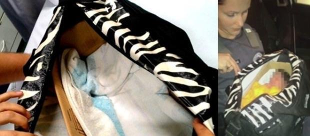Na primeira a mala onde ele foi encontrado, na segunda imagem o bebê já sendo atendido pela equipe médica após o resgate.