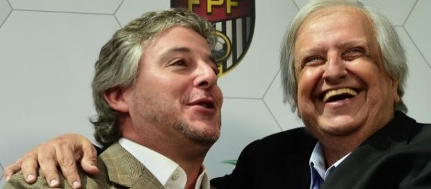 Paulo Nobre, ex-presidente do Palmeiras e Modesto Roma Júnior, presidente santista.