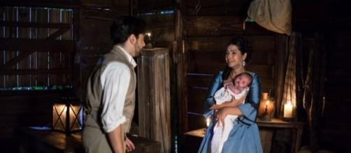 Miguel encontra Isaura com Maria Isabel (via R7.com)