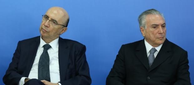 O presidente Temer e o ministro da fazenda, Henrique meireles