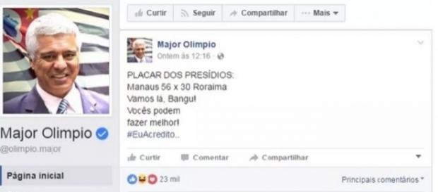 Publicação do deputado federal Major Olímpio (SD-SP) em rede social na qual faz placar com as mortes em Manaus e Roraima (Foto: Reprodução/Facebook)
