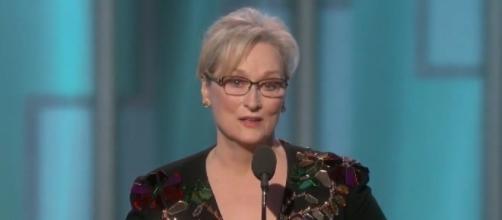 Meryl Streep at the Golden Globes, via Twitter