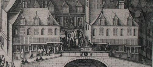 The Amsterdam Stock Exchange, 1612 engraving by Hendrik de Keyser / Geheugen van Nederland, Wikimedia Commons Public Domain