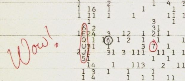 Imagen de la anotación efectuada por el astrónomo Jerry Ehman junto a la señal de origen extraterrestre.