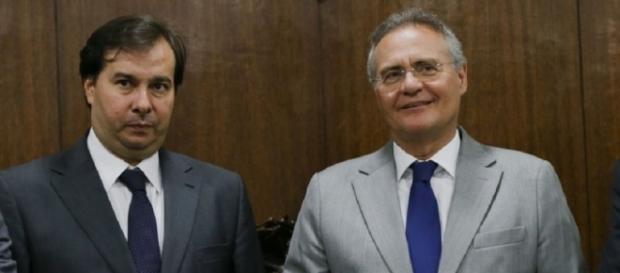 Rodrigo Maia e o presidente do Senado, Renan Calheiros