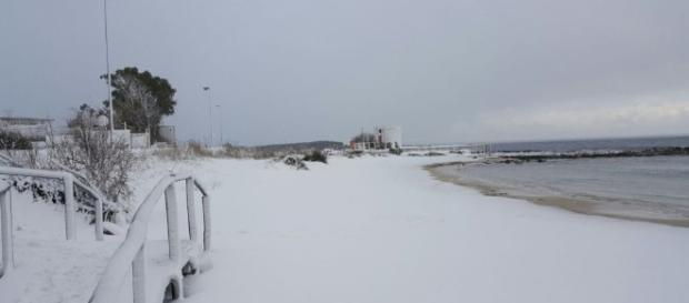 Una spiaggia a Porto Cesareo coperta di neve