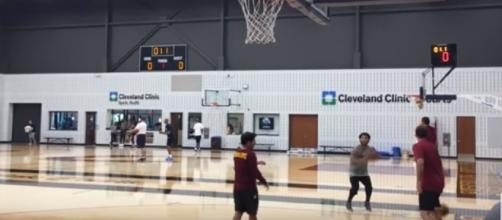 Derrick Rose putting up shots at Cleveland Cavaliers practice - Youtube screen capture / ESPN