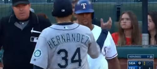 Felix Hernandez and Adrian Beltre during a Mariners game. - Youtube screen capture / MLB