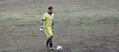 Francesco Musacco, portiere dell'Unione Calcio Bisceglie protagonista nella sfida contro Fasano