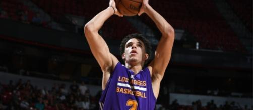Lakers fans are hoping to see Lonzo Ball on the court for some of Saturday night's preseason game with the Timberwolves. [Image via NBA/YouTube]