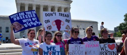 Pro-choice advocates demonstrate in front of Supreme Court (via jordanuhl7/Wikimedia Commons)
